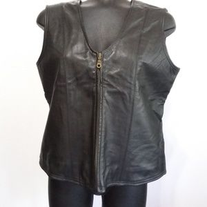 Chandler Hill black leather and cloth vest